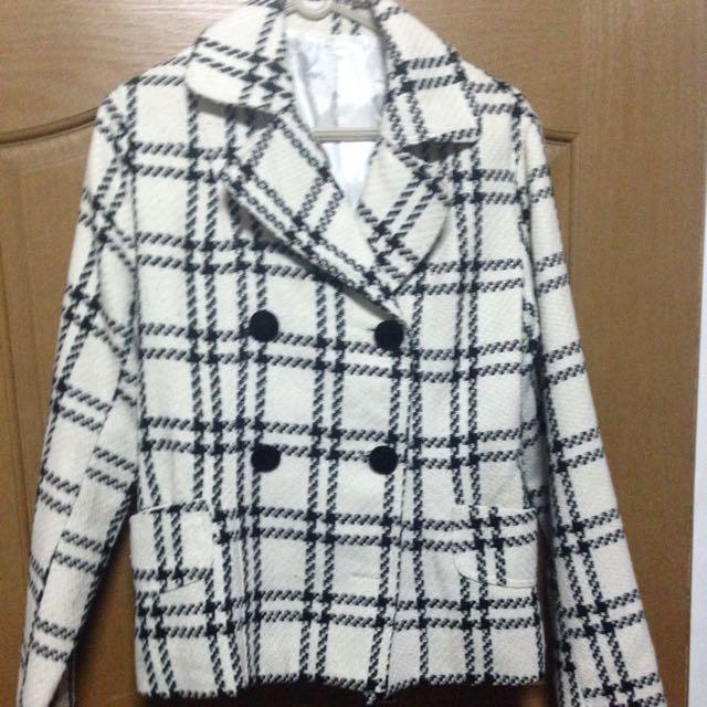 短版 黑白 條紋 大衣
