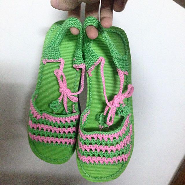 編織 綁帶 綠粉 厚底 涼鞋