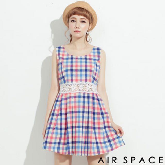 AIR SPACE 蕾絲 洋裝 格紋 露腰