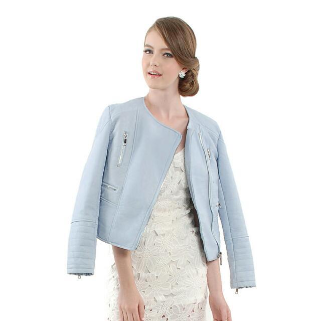 Her Velvet Vase HVV Motel Luxe Leather Jacket in Powder Blue (Size S)