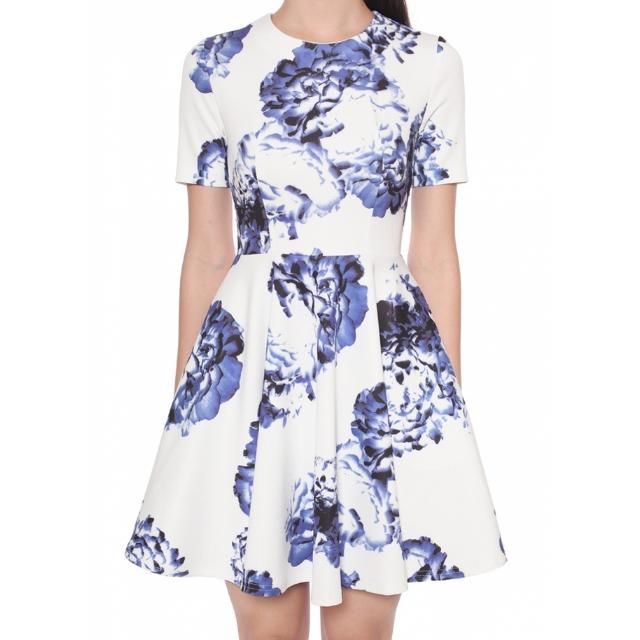 Love Bonito Loretta Flare Dress in Blue (Size S)