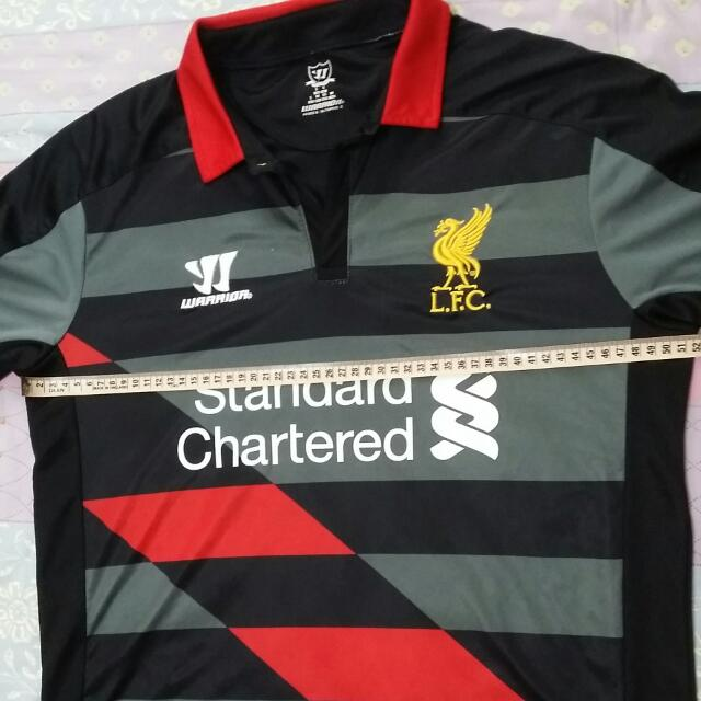 best service a7e43 8afbb Preloved Liverpool Replica Away Black Red 2014/2015 Season Jersey Warrior