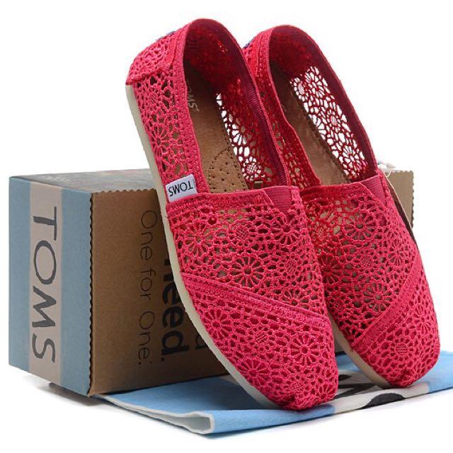 TOMS 蕾絲 平底 休閒鞋 螢光黃/玫紅色 正品 37號