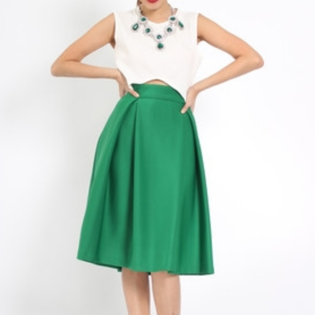 Young Hungry Free YHF Neoprene Midi Skirt in Green (Size M)