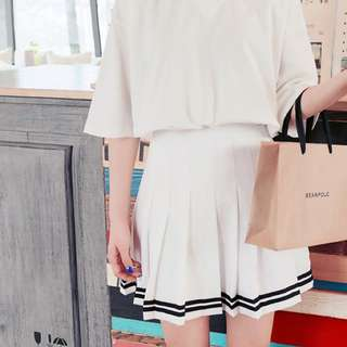 AA inspired white double striped tennis skirt