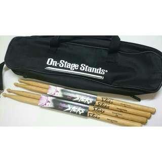 1 Drumstick Bag + 2 Pairs of Drumsticks (Drumstick Bundle)