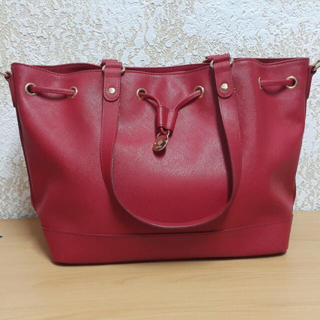 [二手]Kinaz正品紅色水桶側背包