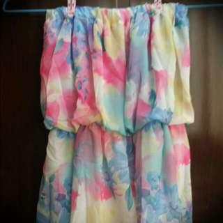 雪纺平口連身裙(粉紅)