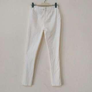 彈性顯瘦鬆緊白長褲