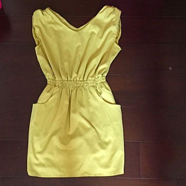 芥末黃無袖洋裝(2手)