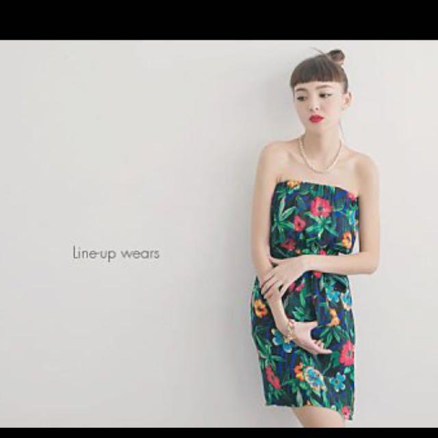 👗熱帶花叢林平口綁帶洋裝連身裙🌴