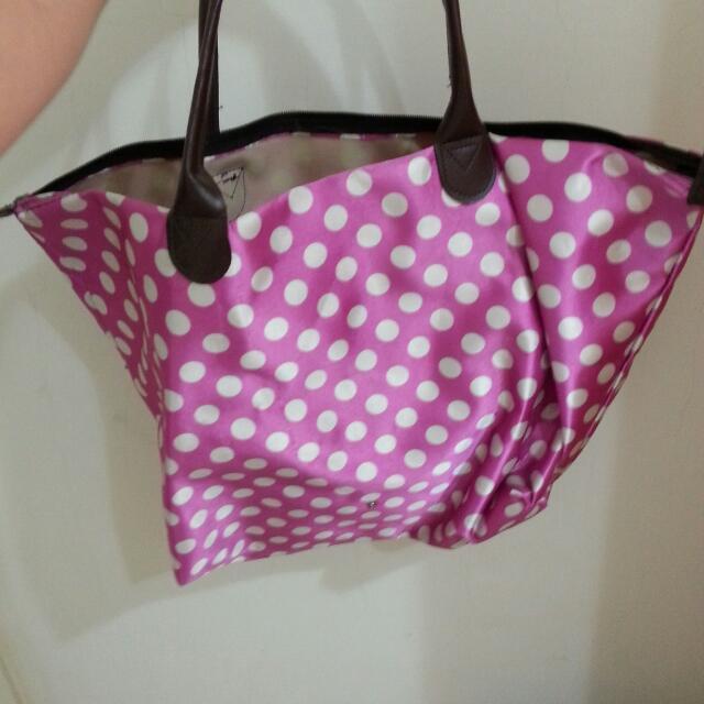 粉紅圓點大包包 收納 大容量 離家 旅行 批貨