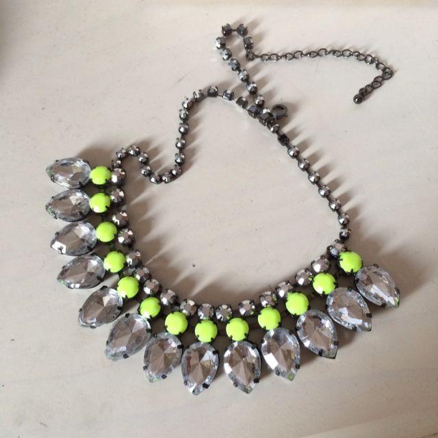 H&m Hm 螢光黃亮色華麗寶石項鍊項鏈