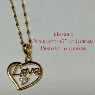 LOVE Pendant With Zirconia Stone - Real Gold 18k Saudi Gold - Selling Only The LOVE PENDANT - necklace chain not included