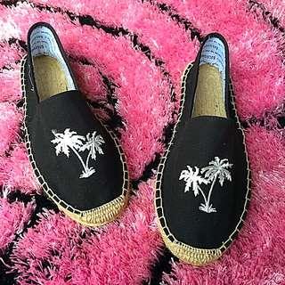 草編鞋 懶人鞋 椰子樹 黑色