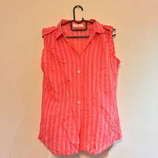 Striped Pink And Orange Sleeveless Shirt