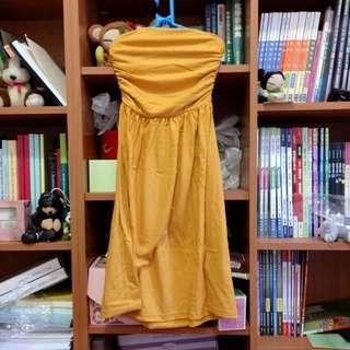 👗黃色側邊鬆緊棉質平口洋裝