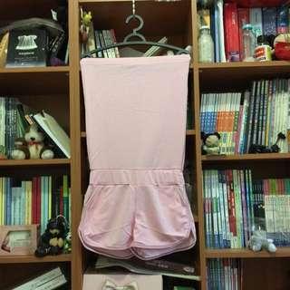👗粉色棉質平口連身褲