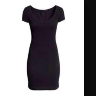 全新 H&m 鐵灰色 基本款素面 連身短裙