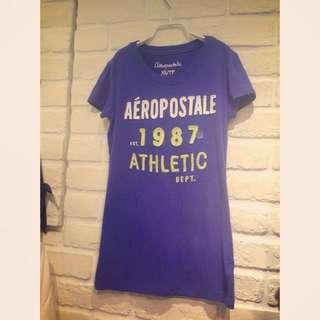 正品全新Areopostale藍紫色文字T
