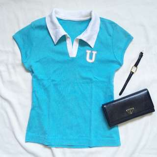 Tiffany Blue/ Turquoise/ Sky Blue Polo Tshirt With White Collar