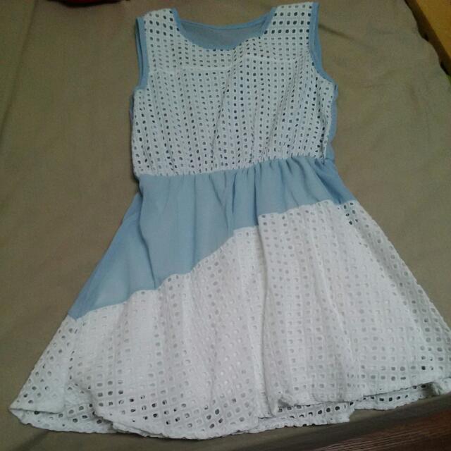 水藍格洋裝