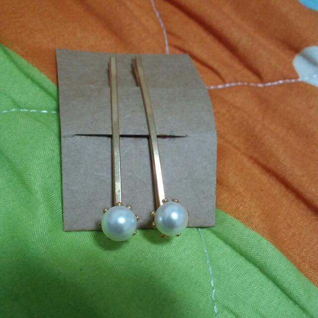 韓版~單顆珍珠對夾