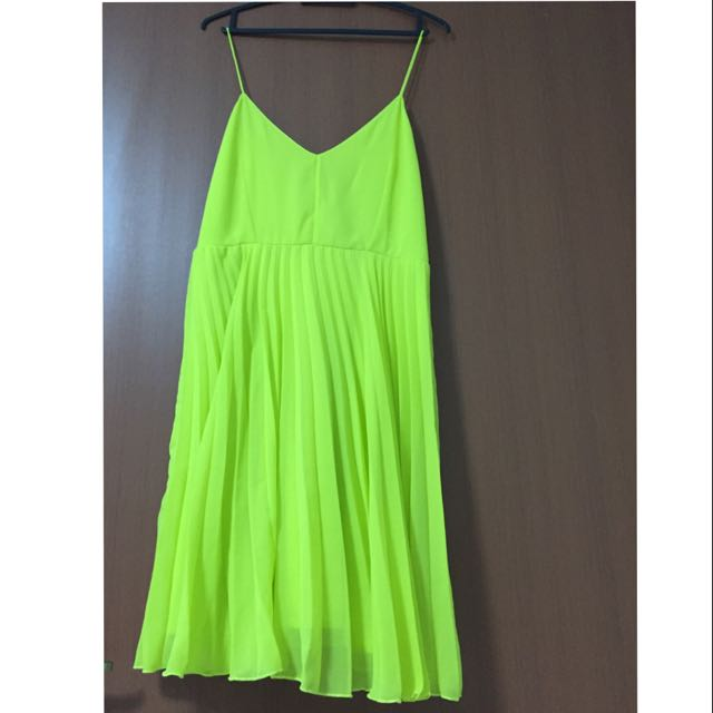 fdb3c099f36d Brand new) ASOS Lime Green Low-back Chiffon Dress, Women's Fashion ...