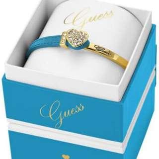 AUTHENTIC GUESS blue leather gold heart bracelet box set