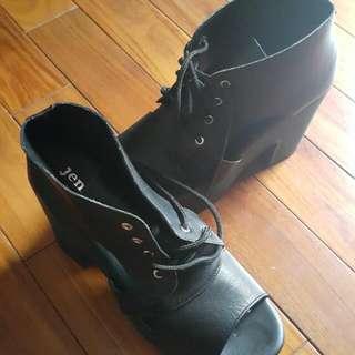 透視厚底繫帶魚口鞋