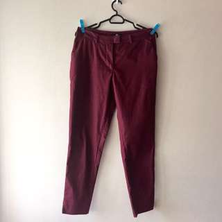 H&M Maroon Straight Leg Trousers