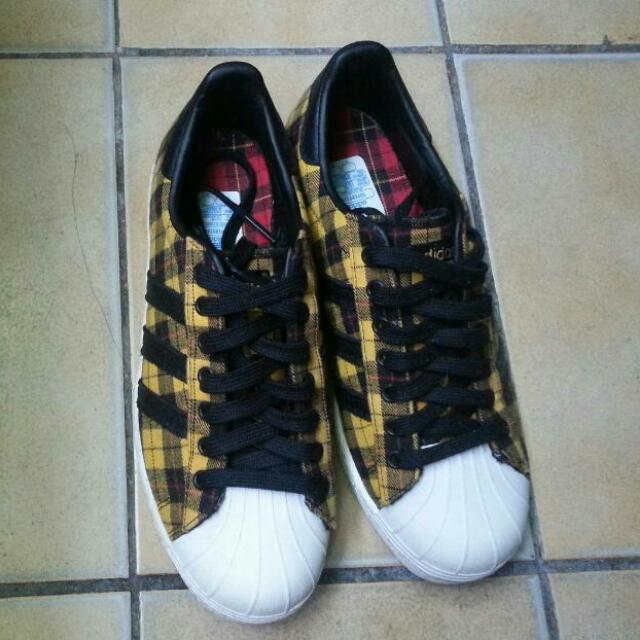 adidas愛迪達貝殼鞋 版鞋 黃色格子