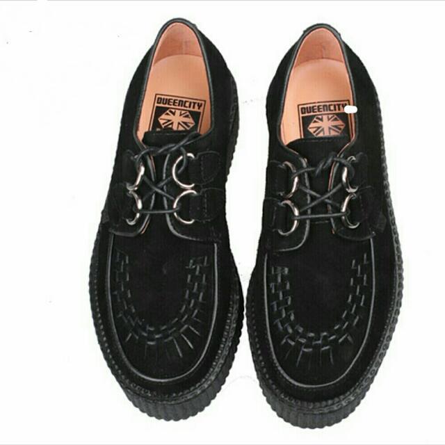 英國Queencity厚底牛津絨面德比鞋 增高