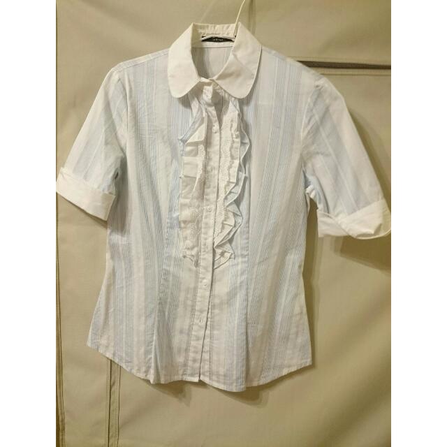 二手/Theme襯衫 藍色條紋 顯瘦