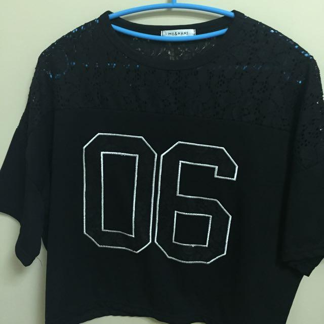 短版蕾絲T-shirt