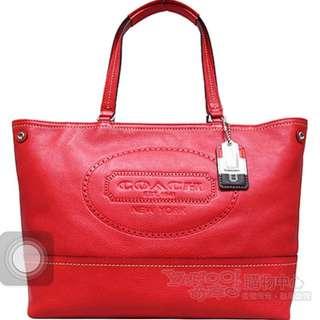 徵收。Coach 紅色。皮。購物包