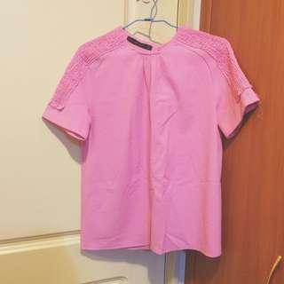 Zara 粉色 露背上衣