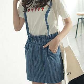 藍直條吊帶裙