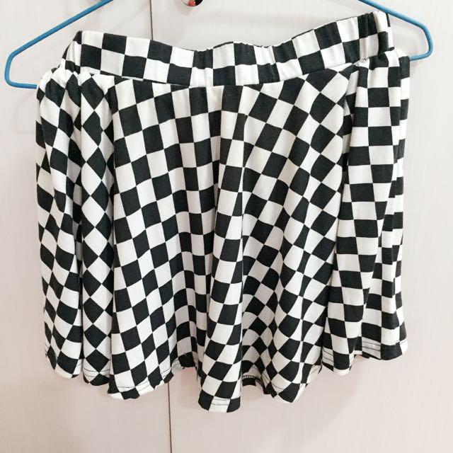 💋黑白格子波浪圓裙