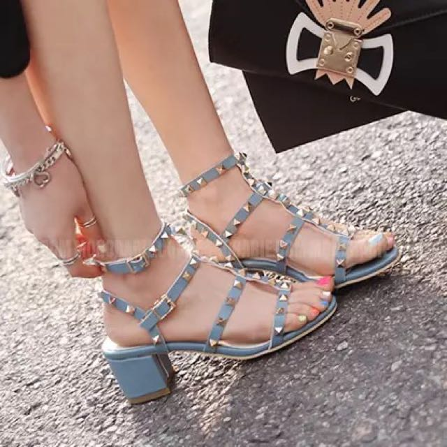正韓 韓國直送 卯釘繫帶粗跟涼鞋 跟高5cm
