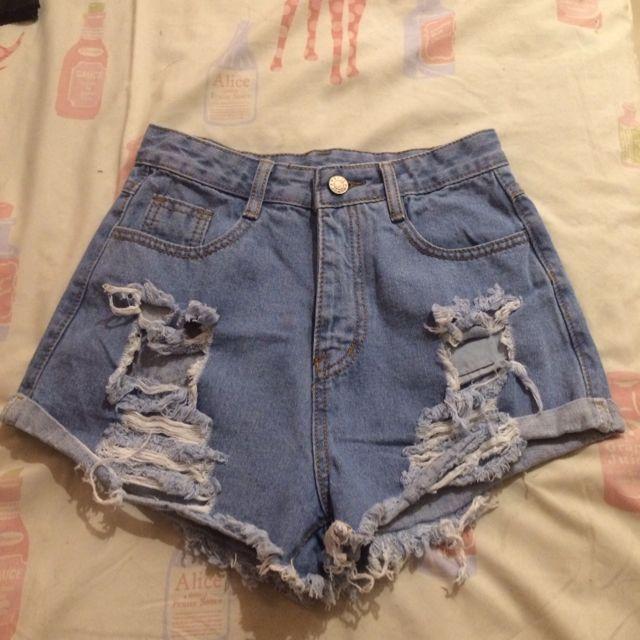 刷破牛仔短褲 M
