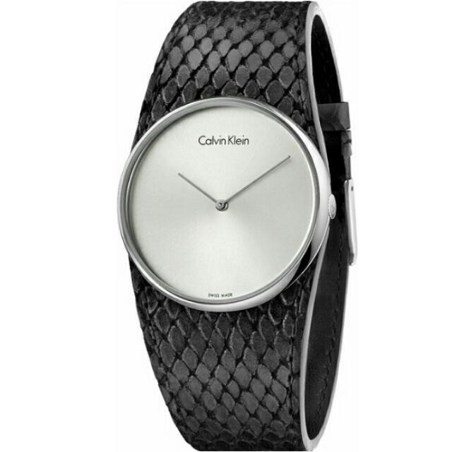 Calvin Klein (CK) 簡約錶面蟒蛇紋路時尚腕錶/白面黑皮