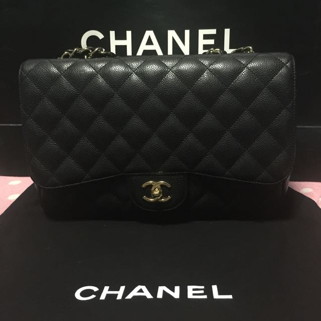 68ec459ced61 Chanel Jumbo Single Flap Bag in Black Caviar Leather and GHW ...