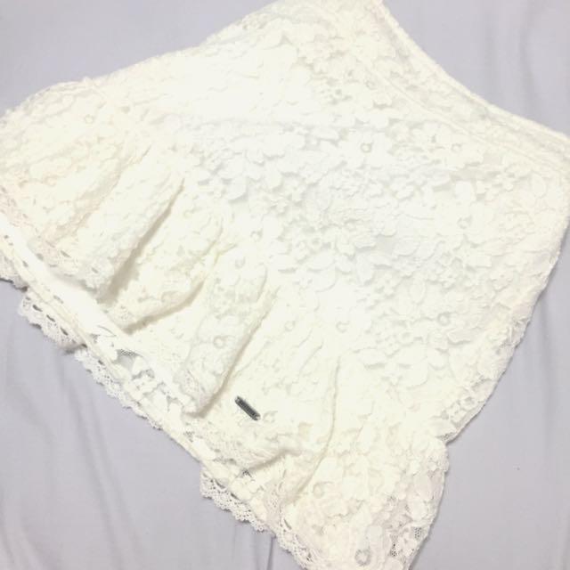 Hollister 白色蕾絲短裙 窄裙 L號
