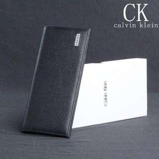 直購品 CK經典款真牛皮夾 男長夾 拉鍊層 禮盒+提袋+代購小票