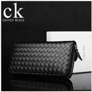 直購品 新款 CK 真皮拉鍊編織 皮夾 男用真皮拉鍊長夾 禮盒+提袋+代購小票