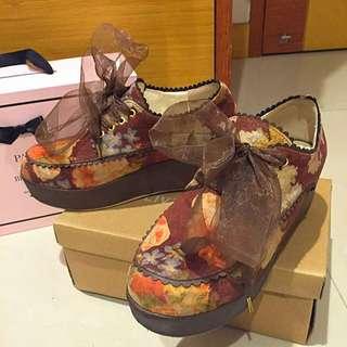 💟日牌正品Liz Lisa 復古咖啡色紗帶厚底鞋 雜誌款