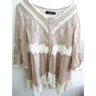 全新! 日貨 日牌 Goopy 浪漫甜美可愛粉紅蕾絲裝飾罩衫