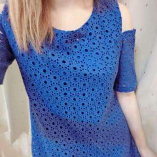 寶藍色圈圈芭比洋