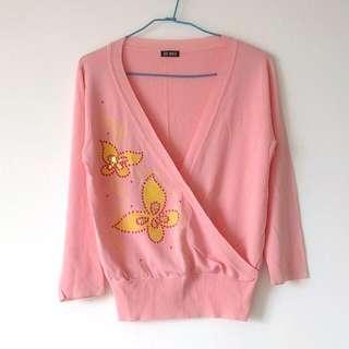 SO NICE 台灣專櫃品牌全新針織上衣 粉橘